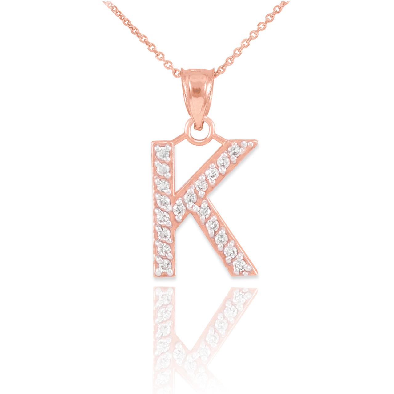 Rose gold letter k diamond initial pendant necklace aloadofball Images