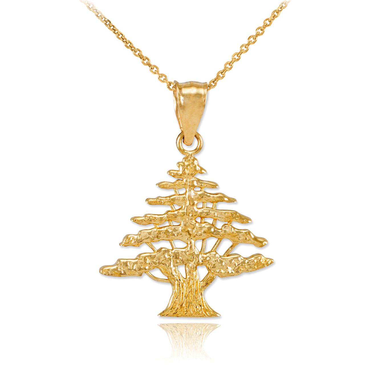 Yellow gold cedar tree of lebanon charm pendant necklace aloadofball Images