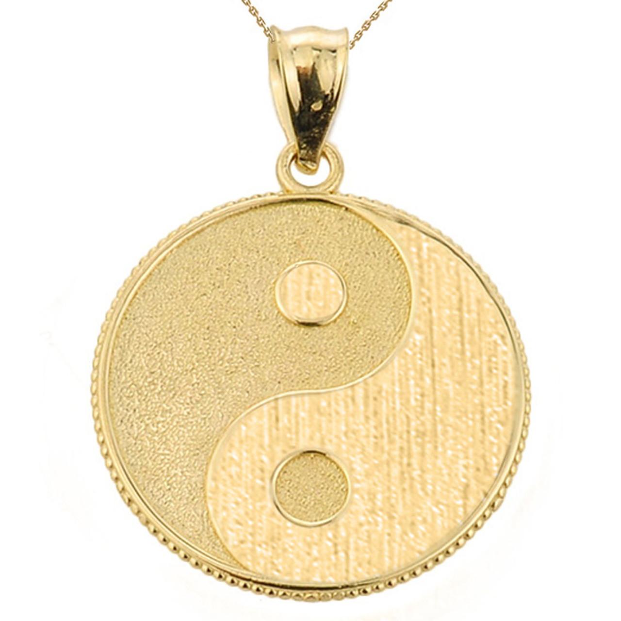 Yellow gold yin and yang taoist symbol charm pendant aloadofball Images