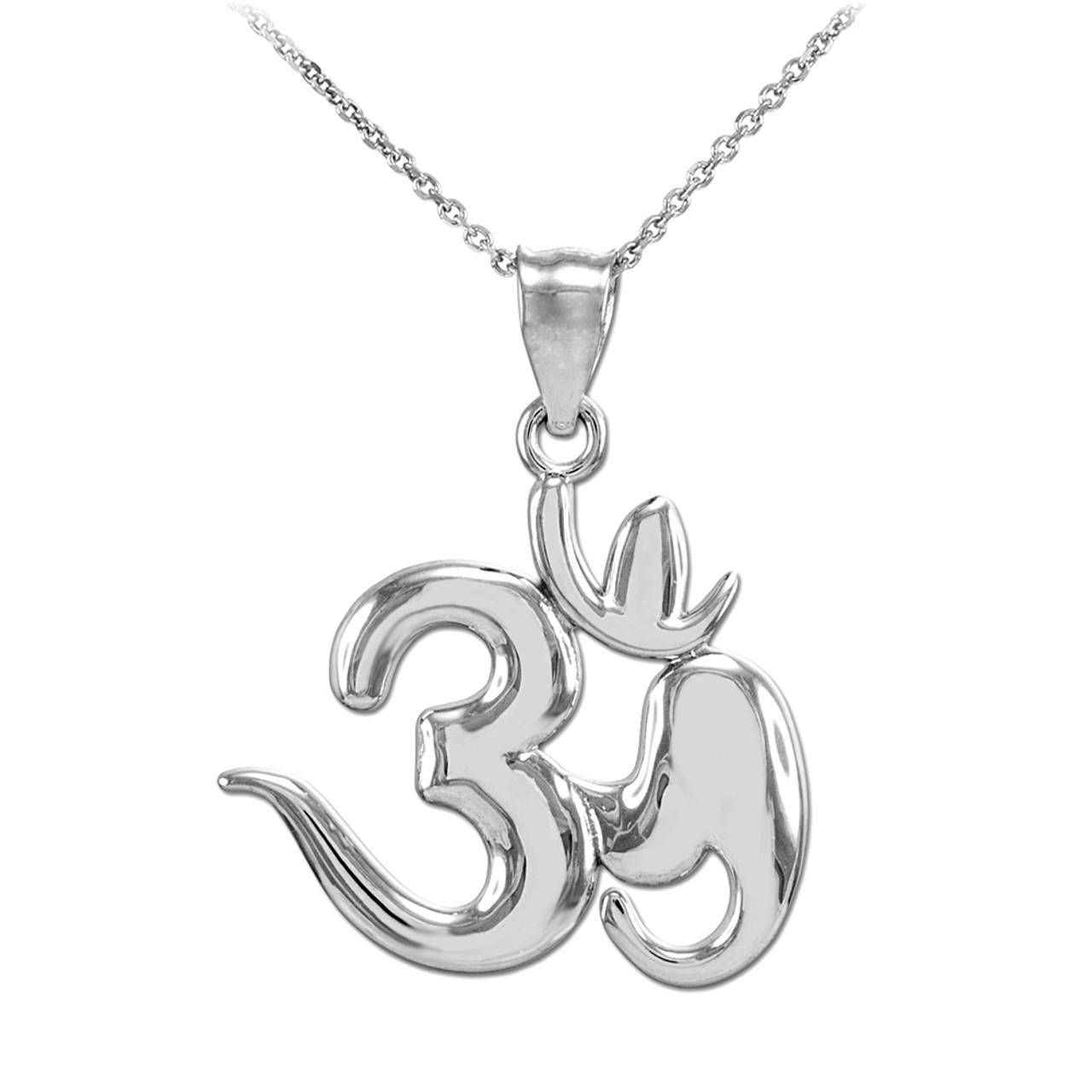 White gold om symbol pendant polished white gold om symbol pendant necklace aloadofball Gallery