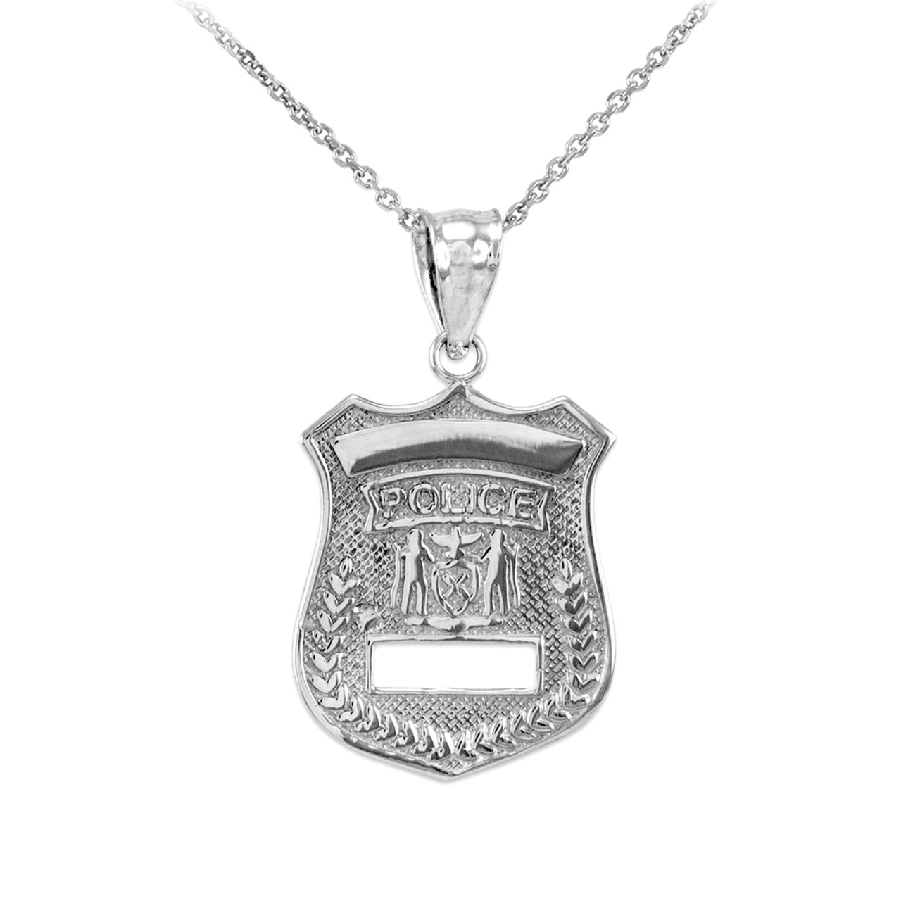 Silver police badge charm pendant sterling silver police badge charm pendant necklace mozeypictures Choice Image