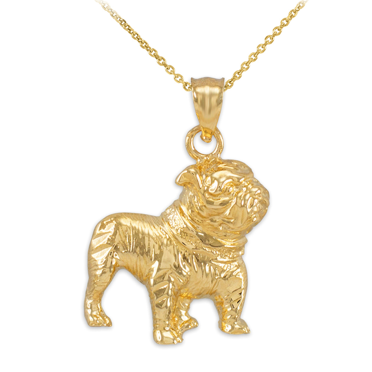Gold Bulldog Charm Pendant