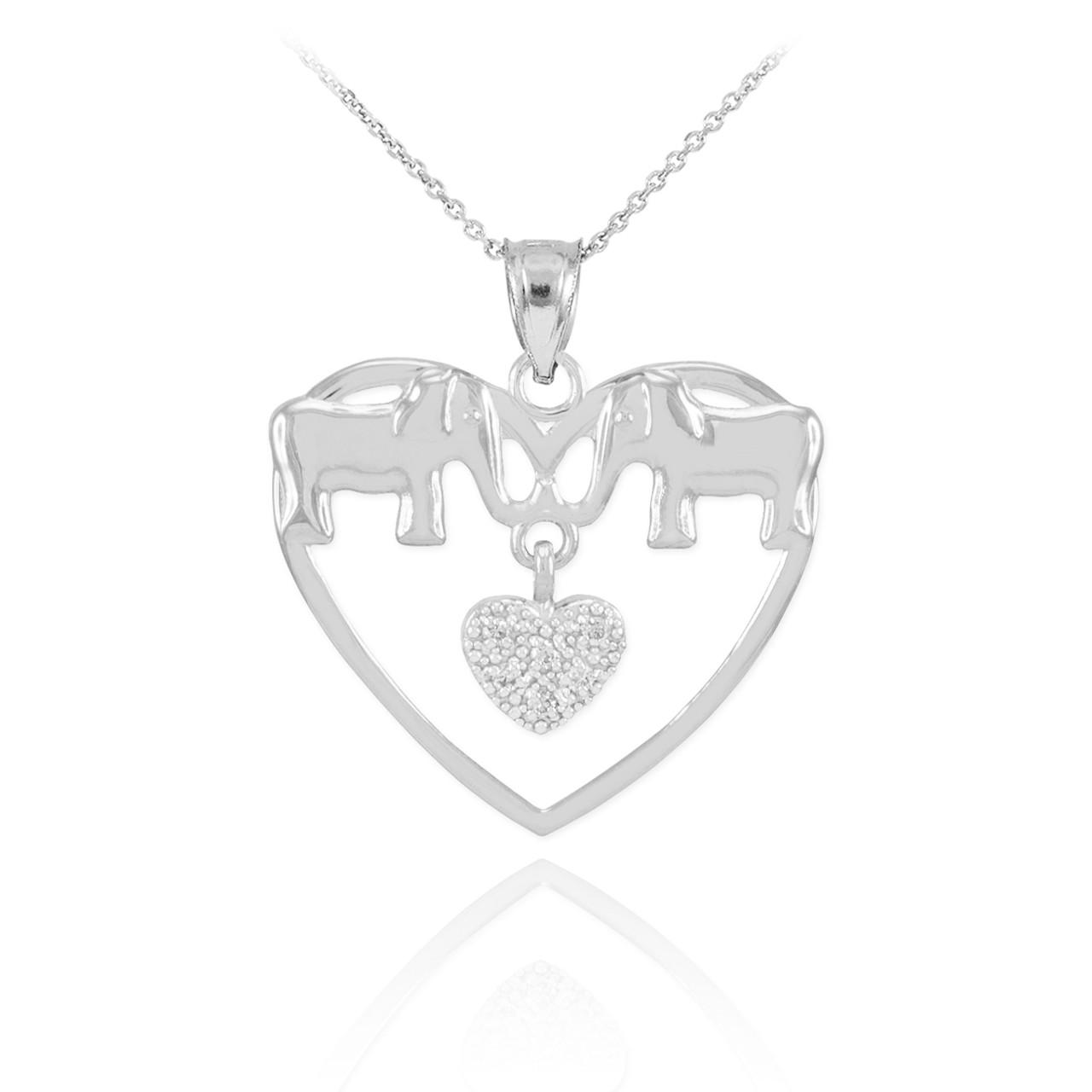 White gold elephant and heart pendant necklace with diamonds white gold elephant and heart pendant necklace aloadofball Choice Image
