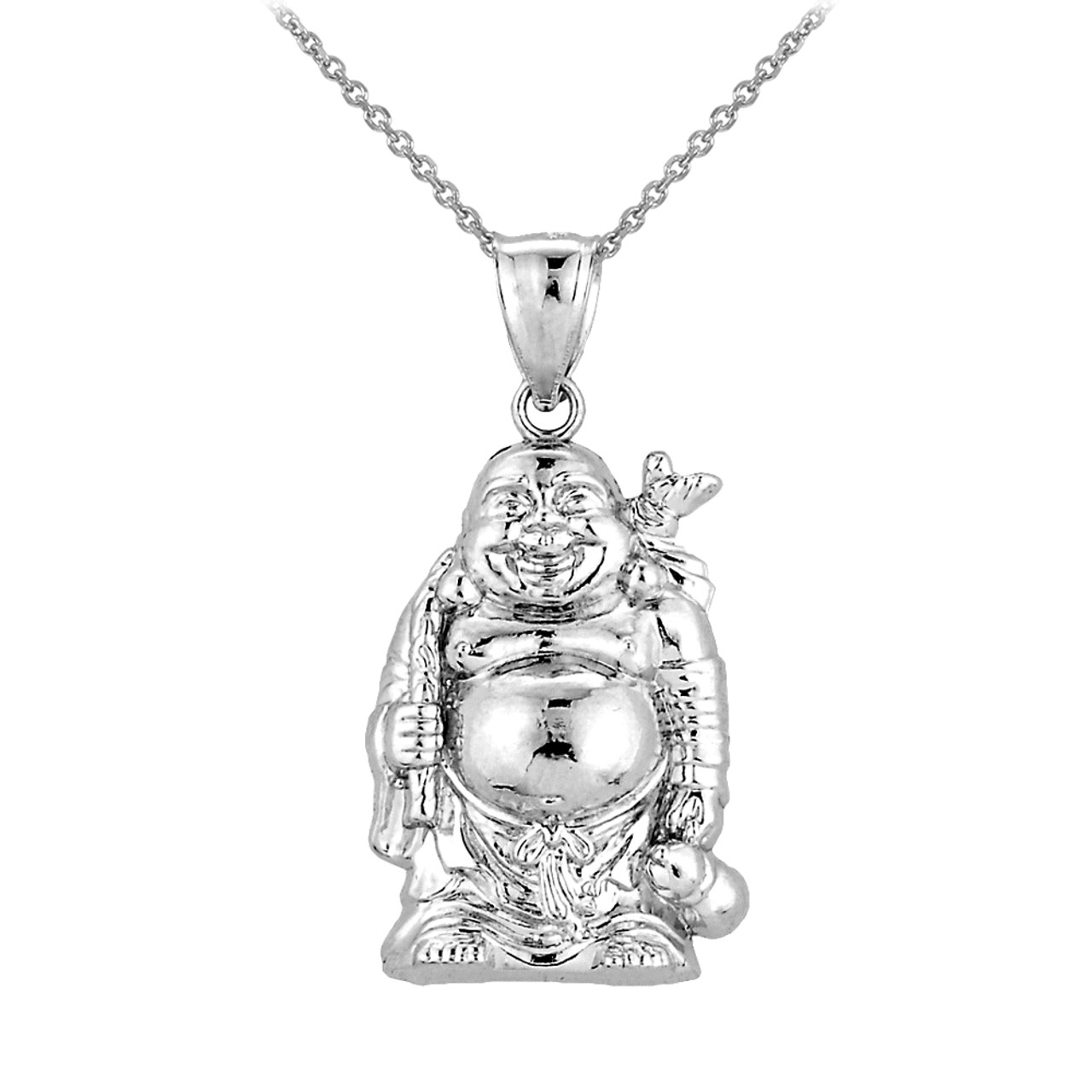 Sterling silver laughing buddha pendant buddha buddhist silver laughing buddha pendant necklace aloadofball Image collections