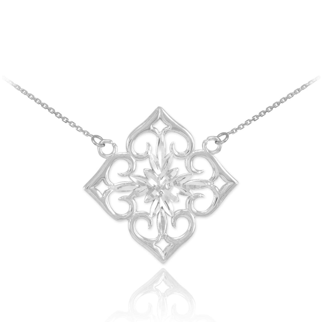 14k white gold diamond cut flower necklace mightylinksfo