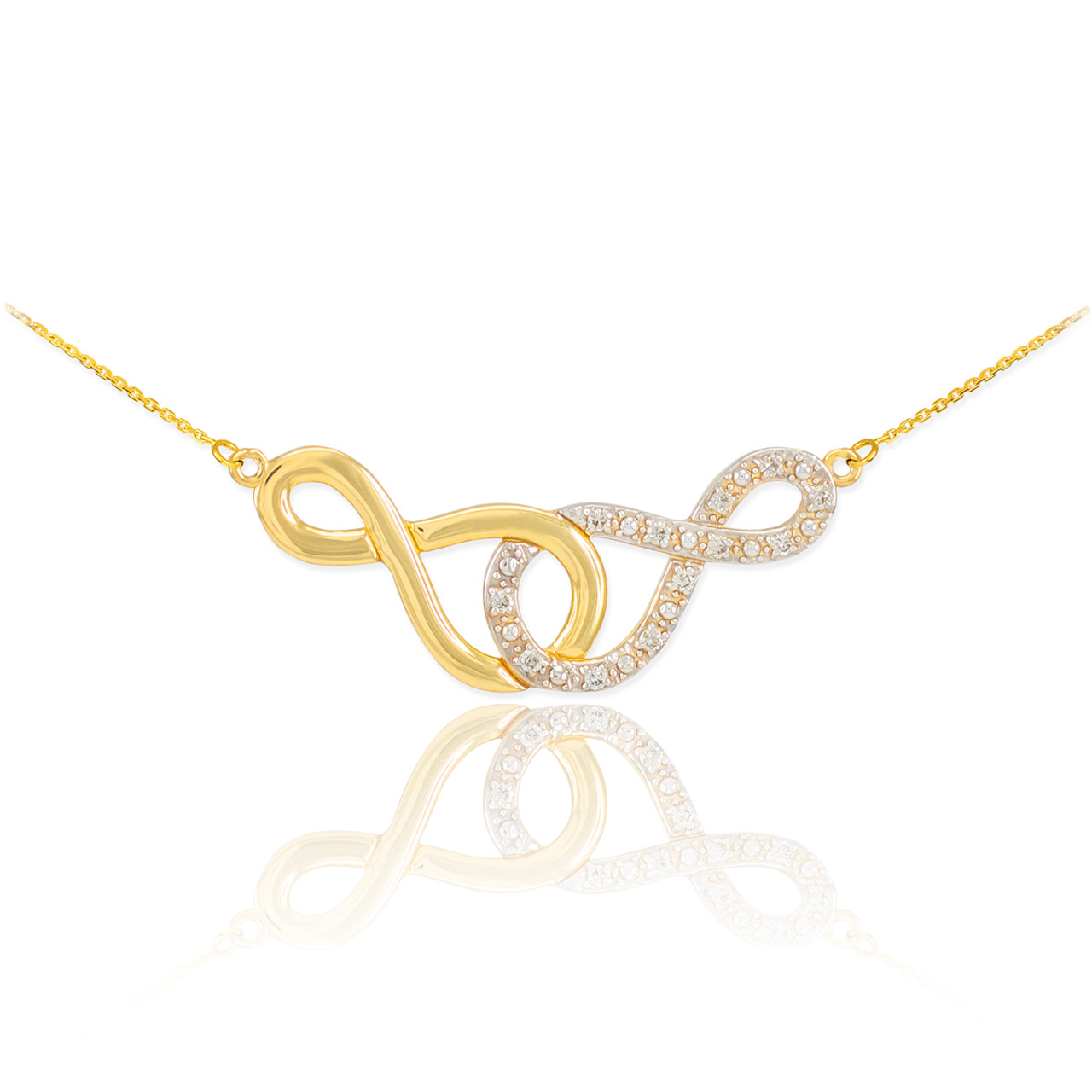 14k gold double infinity necklace with diamonds aloadofball Image collections
