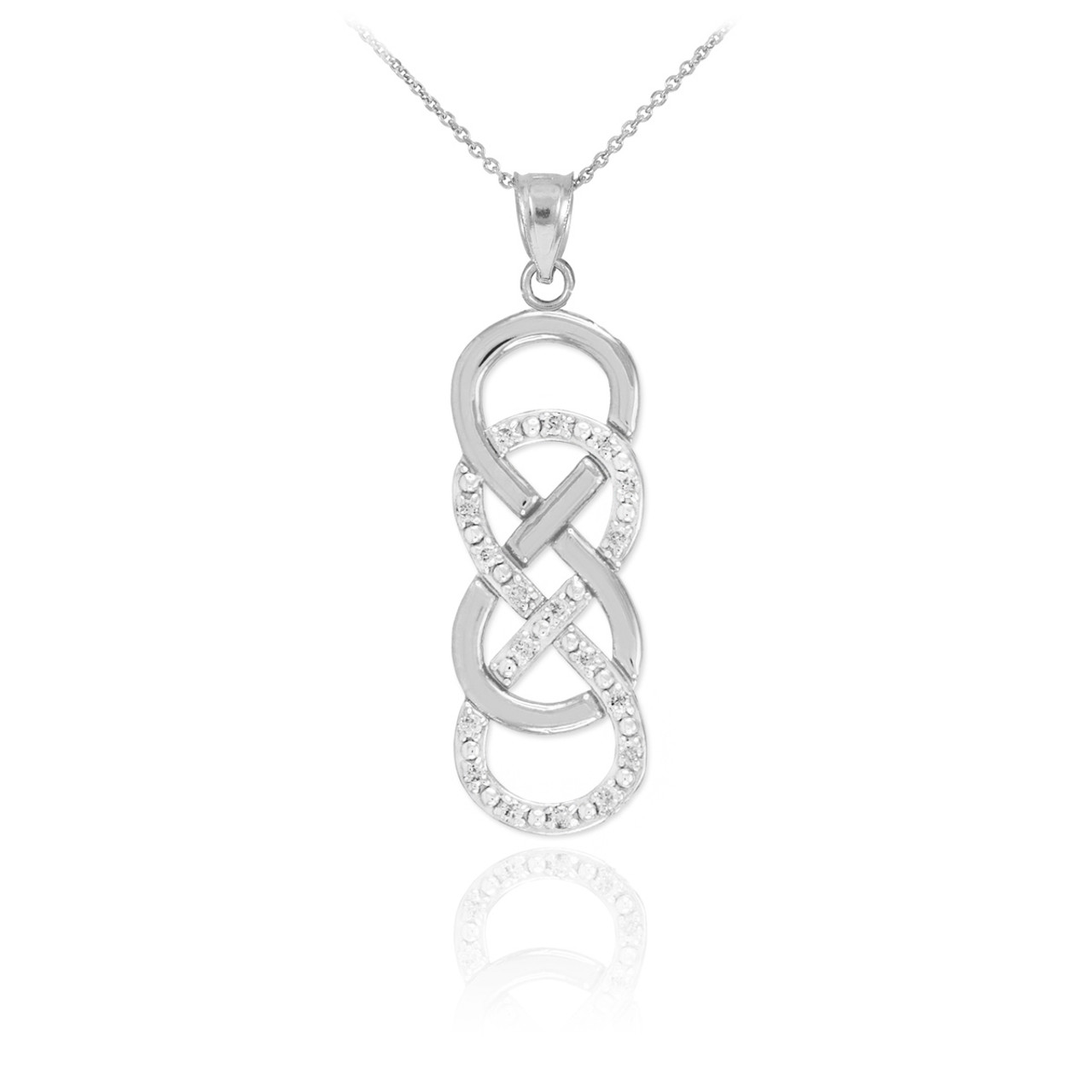 14k white gold vertical double infinity necklace with diamonds biocorpaavc Image collections