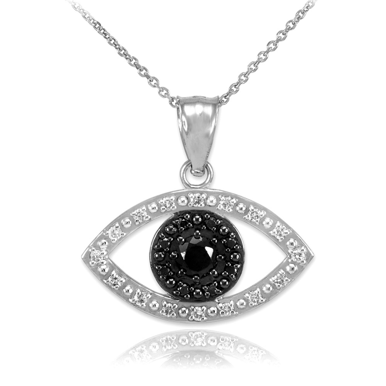 White gold evil eye pendant with clear and black diamonds white gold evil eye pendant necklace with clear and black diamonds aloadofball Images
