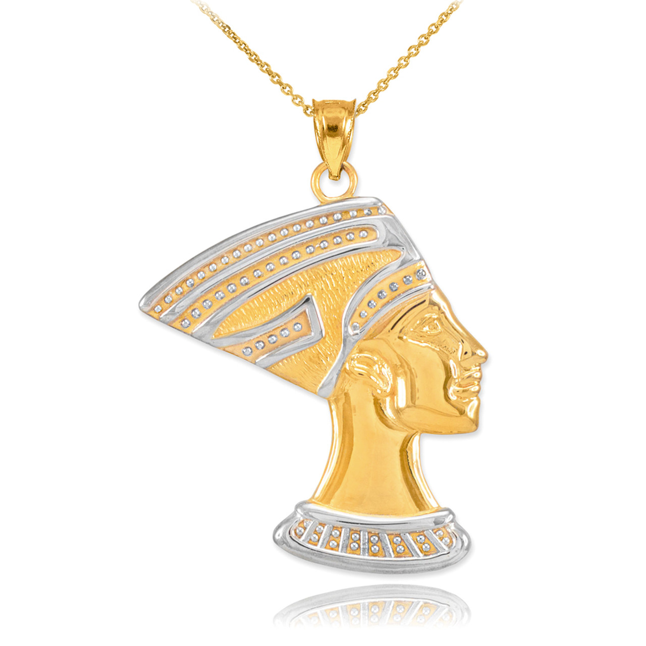 Two tone gold queen nefertiti pendant two tone gold queen nefertiti pendant necklace mozeypictures Choice Image