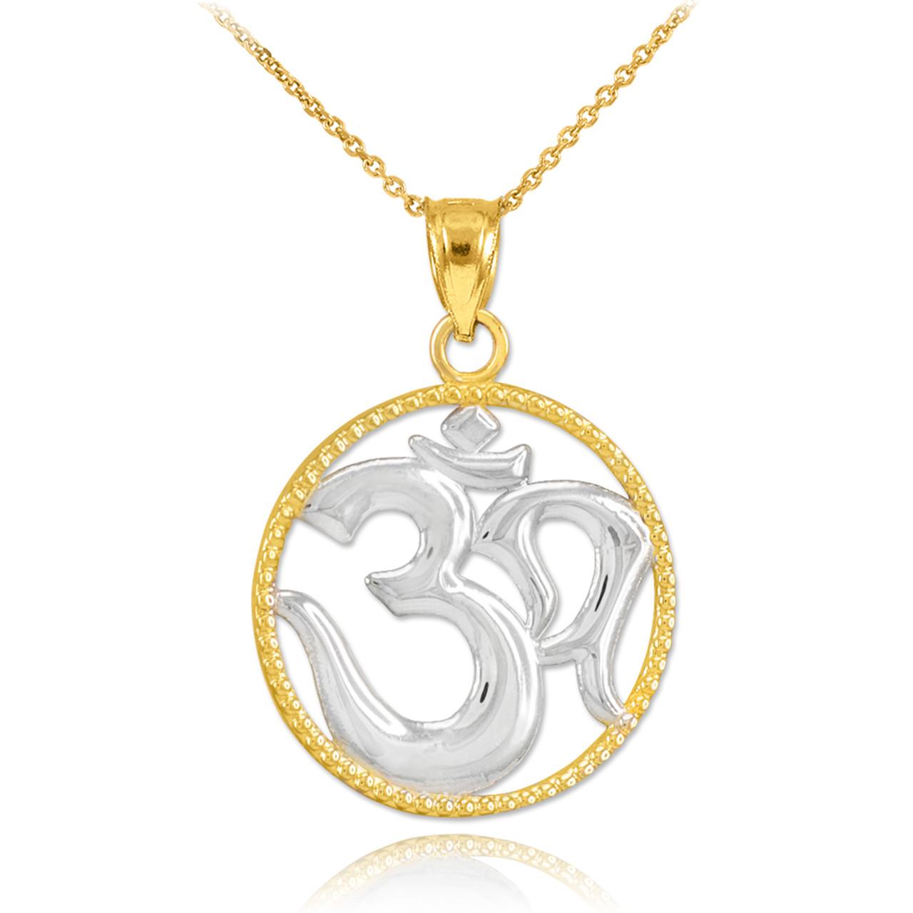 Two Tone Gold Om Symbol Charm Pendant