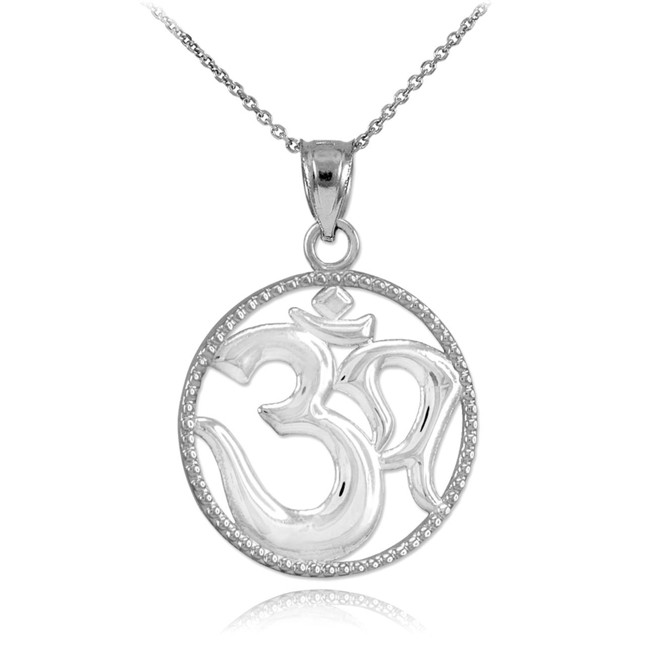 Polished White Gold Om Symbol Charm Pendant