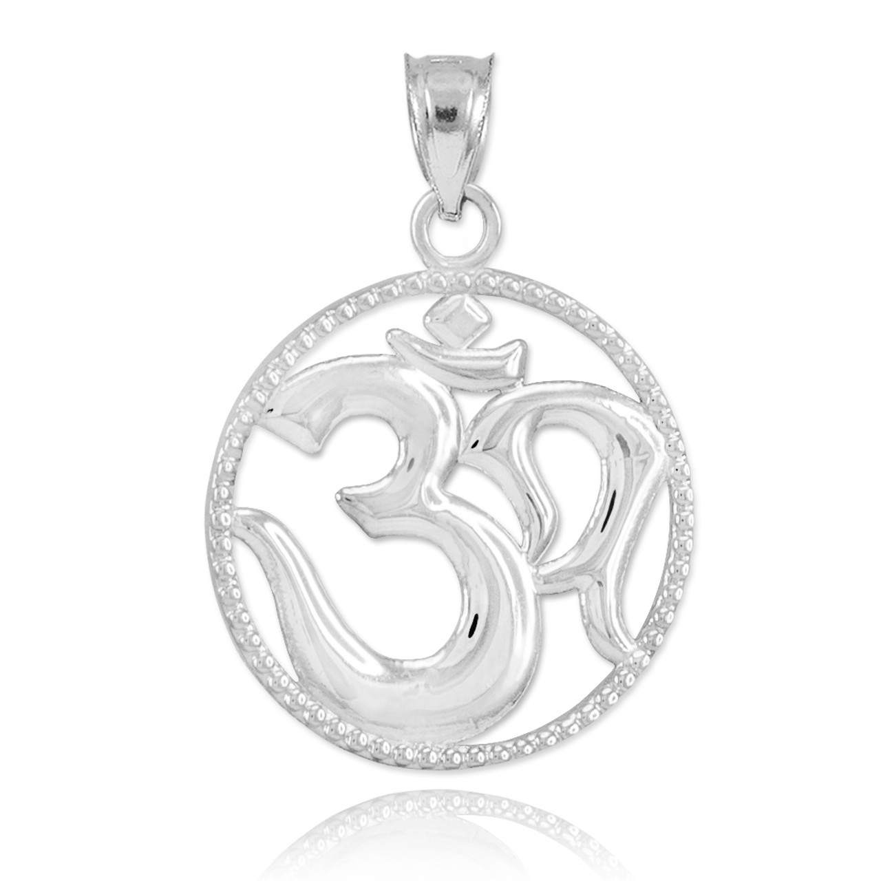 Sterling silver om symbol charm pendant aloadofball Gallery