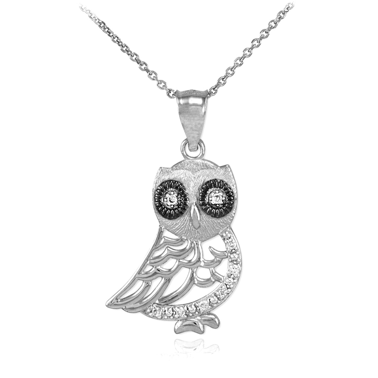 Polished white gold owl pendant with diamonds polished white gold owl pendant necklace with diamonds aloadofball Image collections