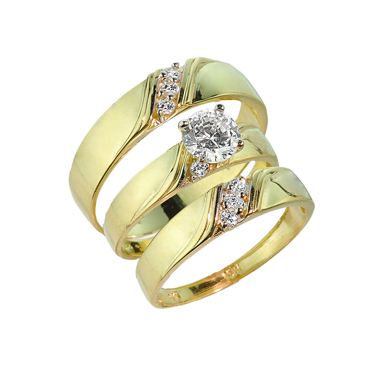 3Piece Gold CZ Wedding Ring Set Engagement Ring Wedding Rings