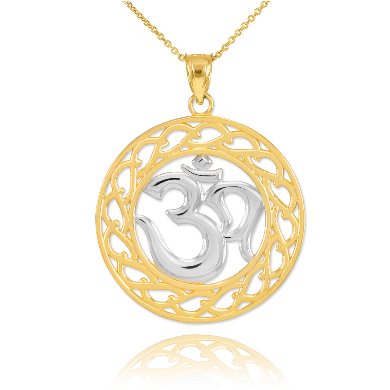 Two tone gold om symbol pendant necklace om pendants two tone gold om symbol pendant necklace aloadofball Gallery