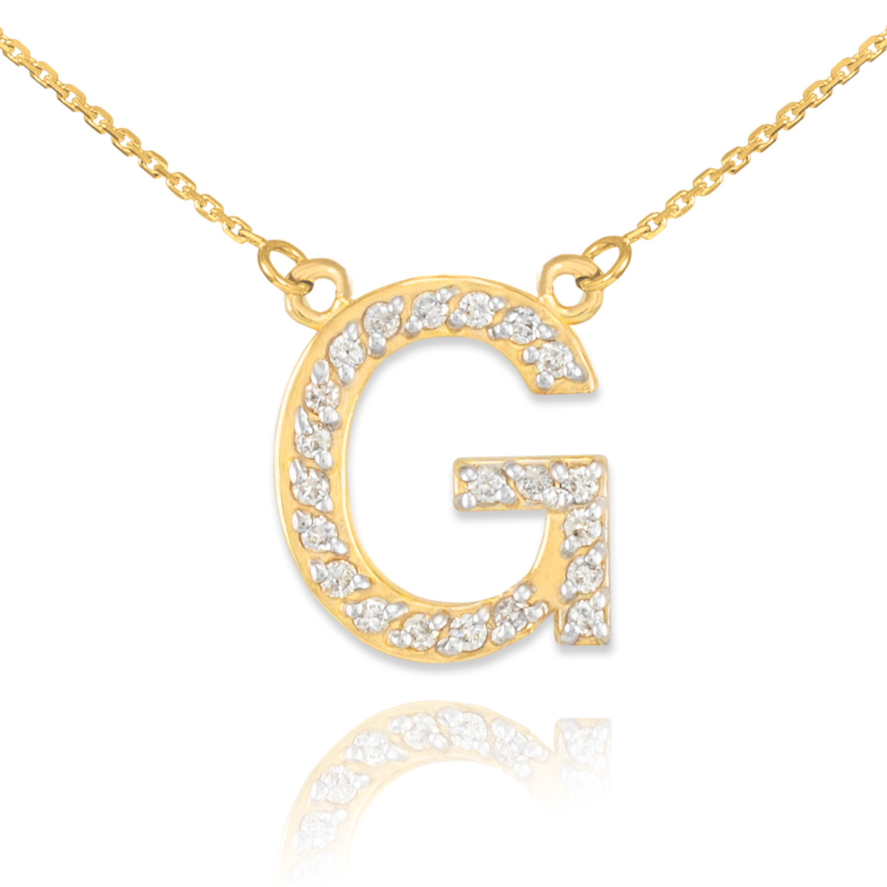 14k gold letter g diamond initial necklace aloadofball Image collections