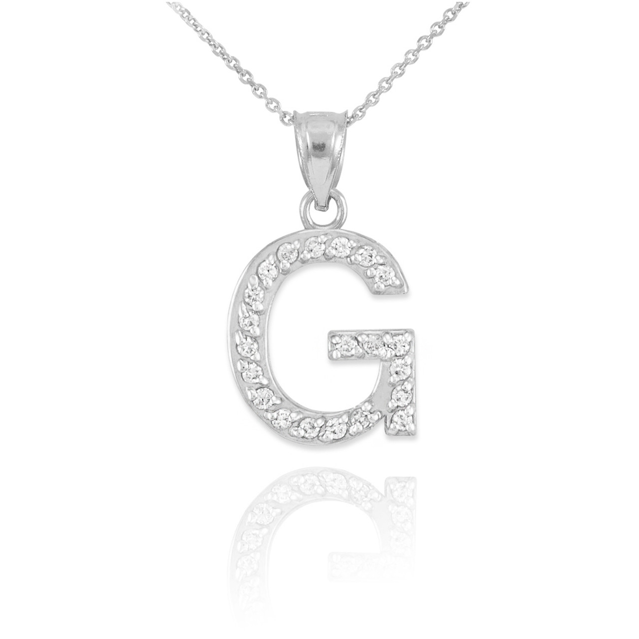 Gold letter g diamond initial pendant necklace white gold letter g diamond initial pendant necklace mozeypictures Image collections