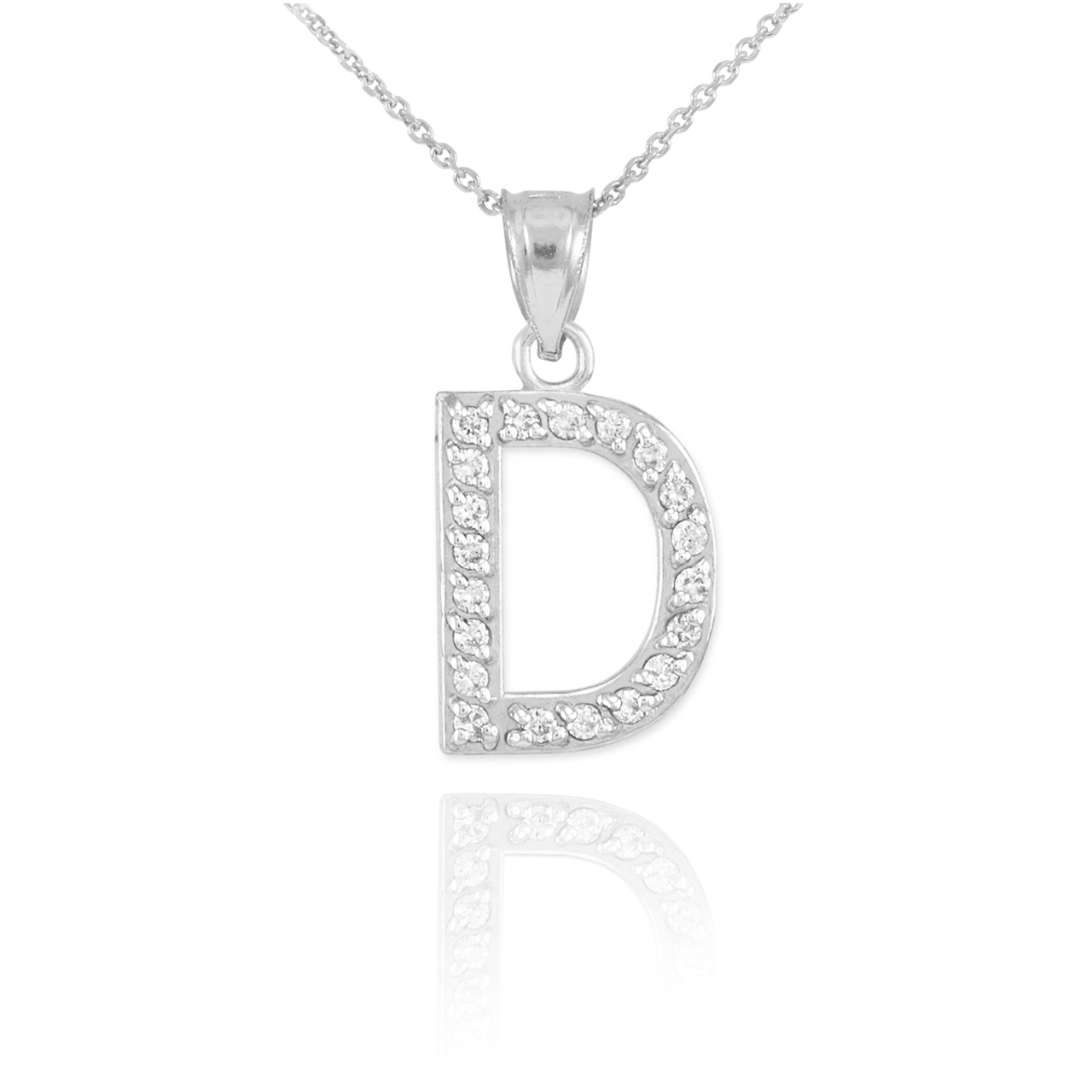 White gold letter d diamond initial pendant necklace mozeypictures Image collections