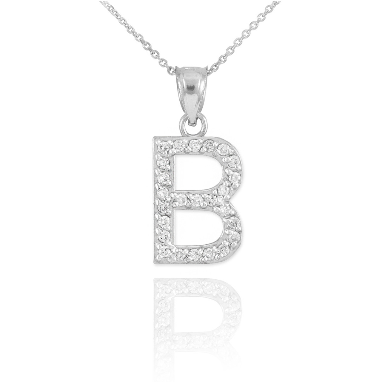 White gold letter b initial diamond pendant necklace mozeypictures Images