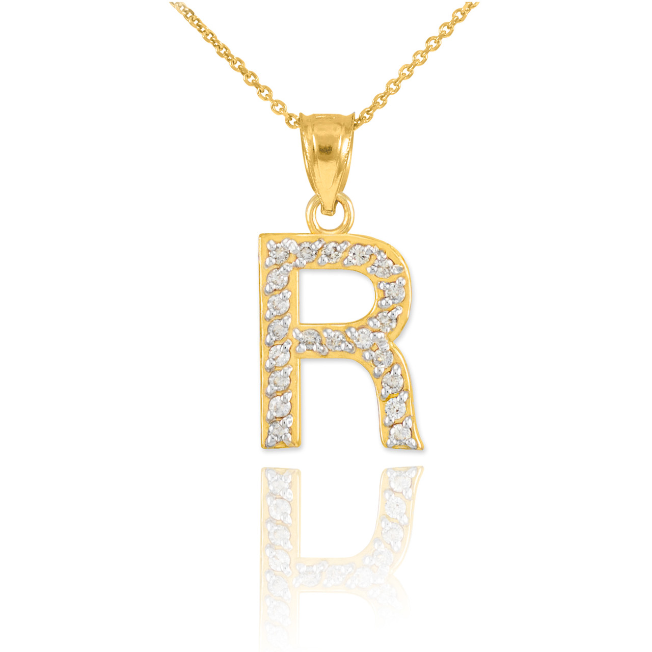 Gold letter r diamond initial pendant necklace aloadofball