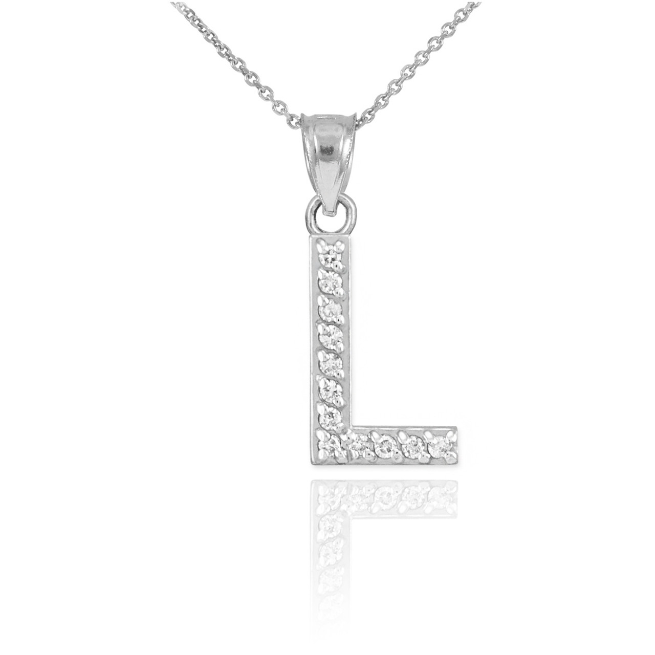 White gold letter l diamond initial pendant necklace mozeypictures Image collections