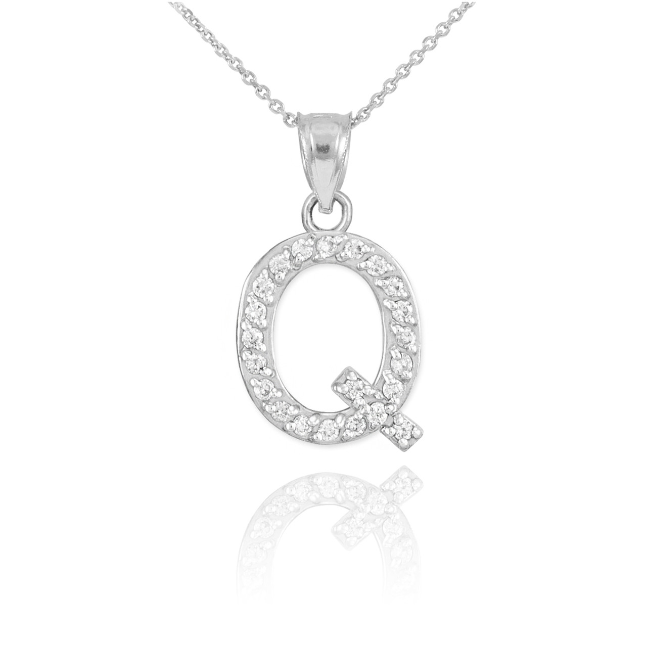 Gold letter q diamond initial pendant necklace white gold letter q diamond initial pendant necklace mozeypictures Image collections