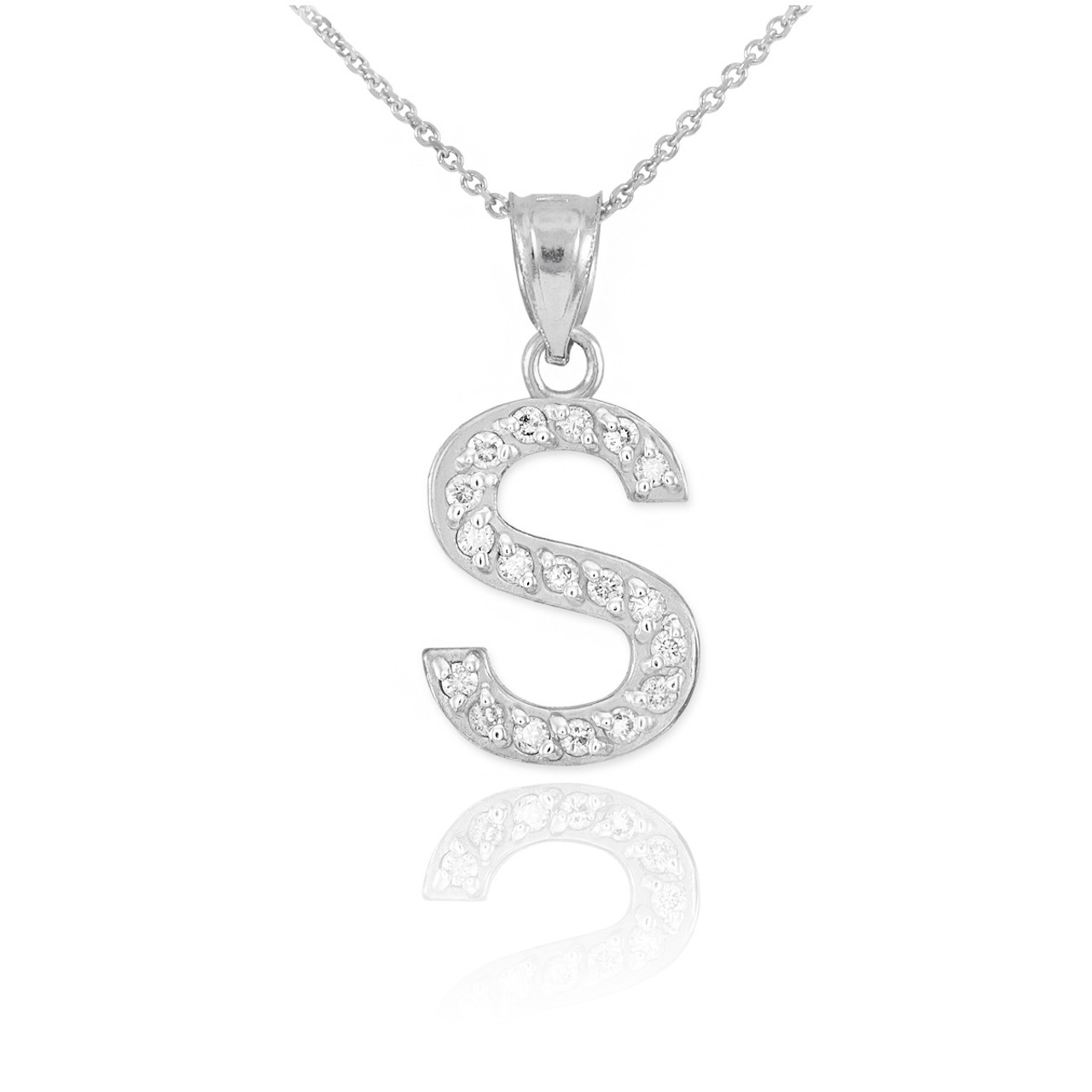 White gold letter s diamond initial pendant necklace mozeypictures Image collections