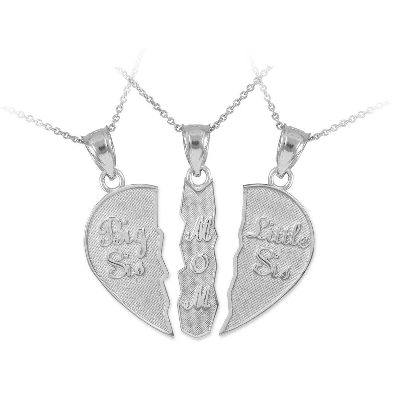 Three part necklace big sis mom little sis silver pendant aloadofball Image collections