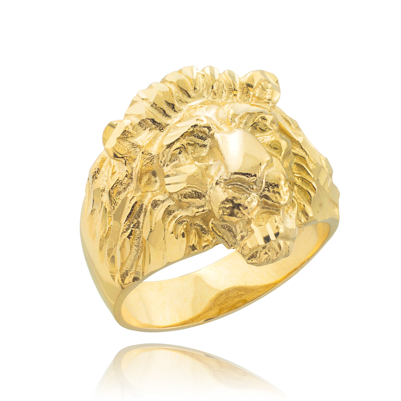 heavy ring rings head handcarved solid large yellow product size lion mens new gold