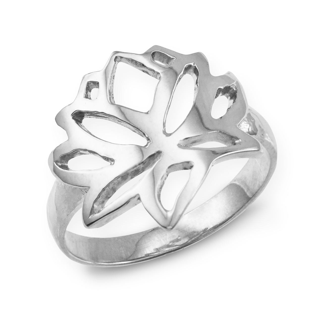 White Gold Lotus Flower Ring Lotus Lotus Flower Buddhism Ring