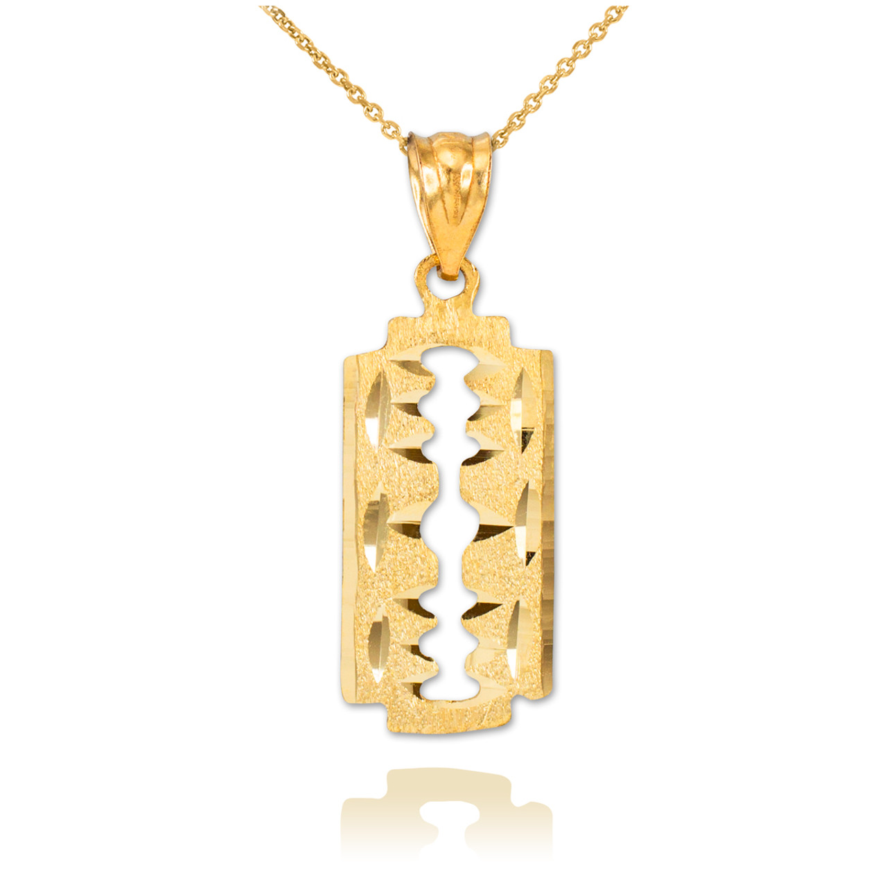 Gold razor blade pendant necklace razor blade gold razor blade pendant necklace altavistaventures Image collections