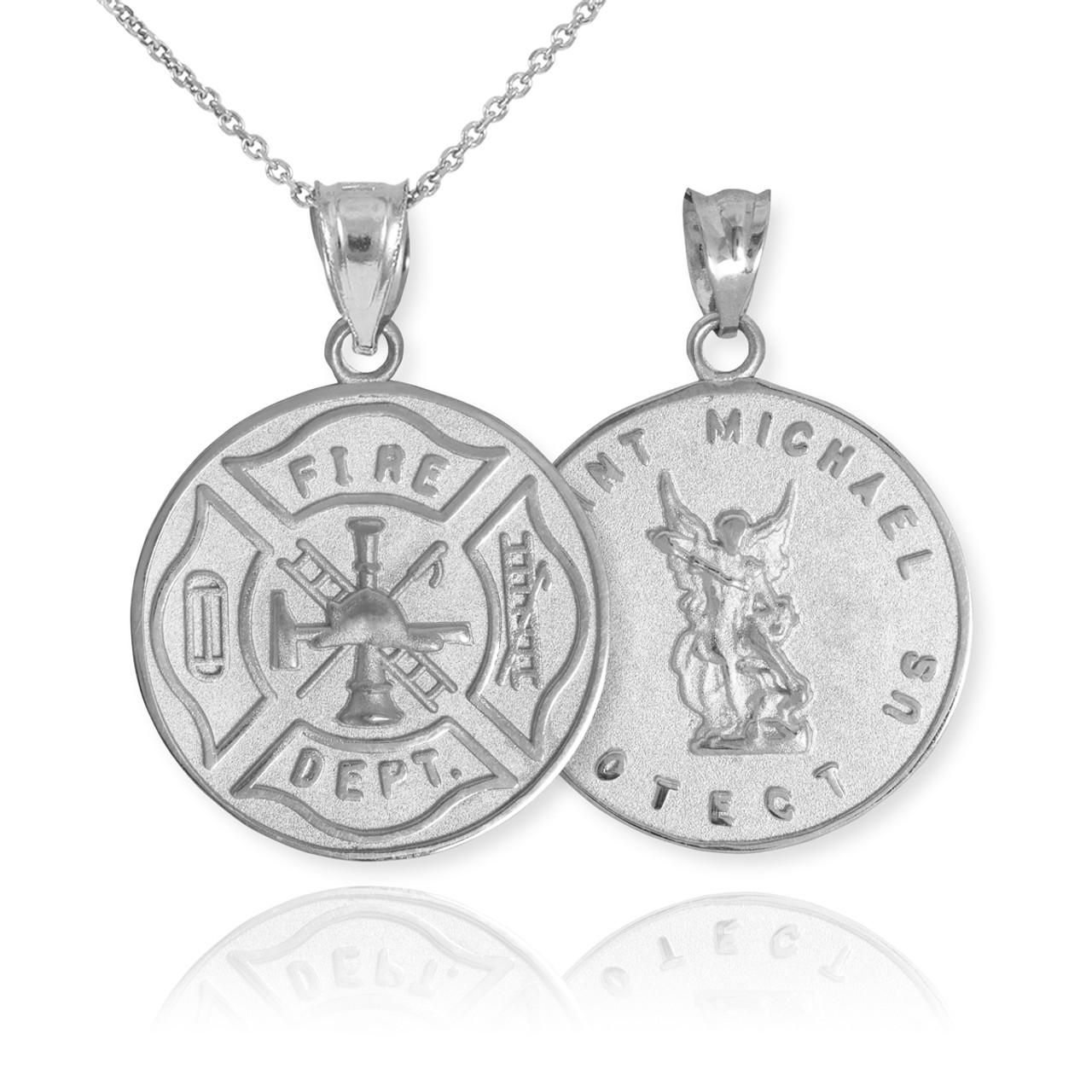 White gold firefighter badge reversible st michael pendant necklace white gold firefighter badge reversible st michael pendant necklace aloadofball Gallery