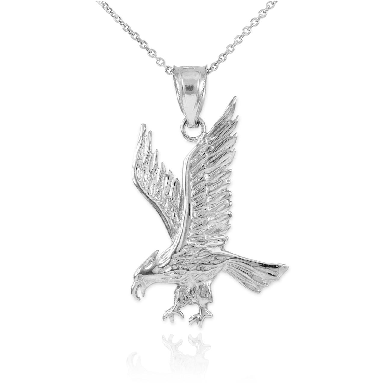 Solid white gold eagle pendant necklace eagle pendants solid white gold eagle pendant necklace aloadofball Images
