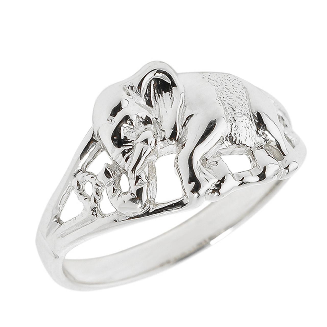 White Gold Openwork Elephant Ring