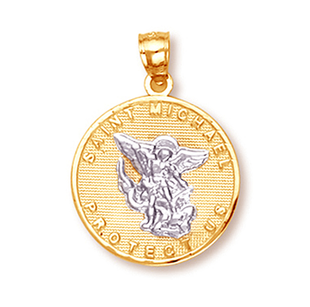 Two tone gold saint michael pendant aloadofball Gallery