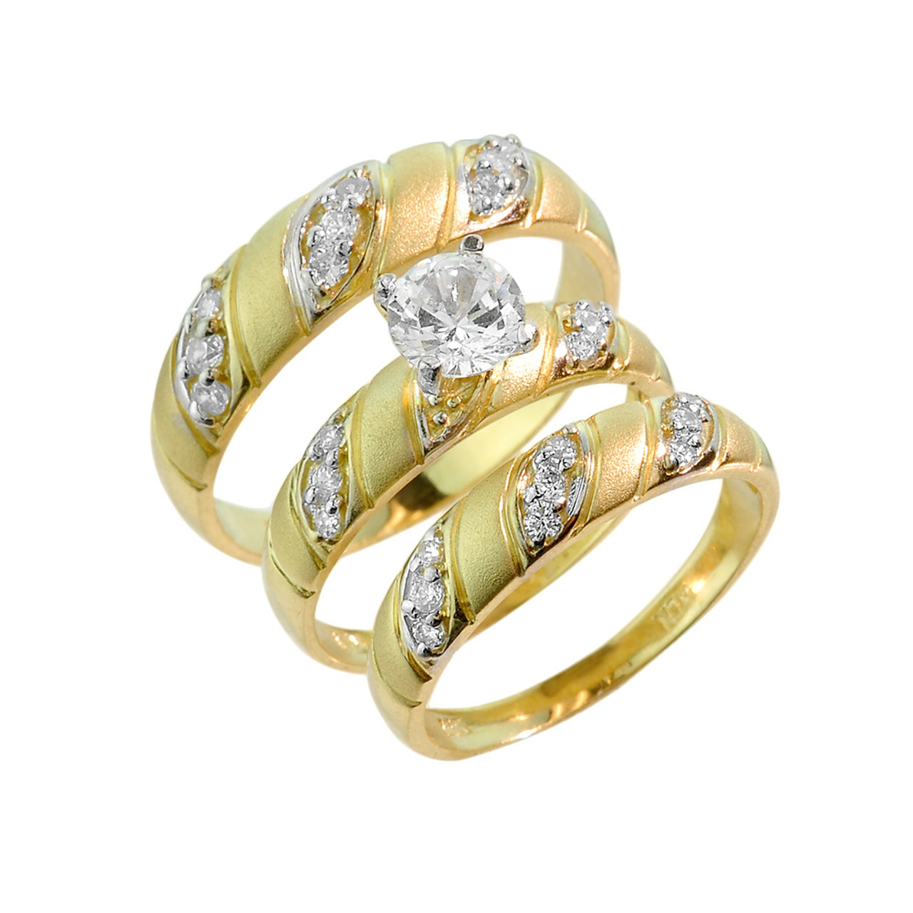 Gold CZ 3Piece Wedding Ring Set