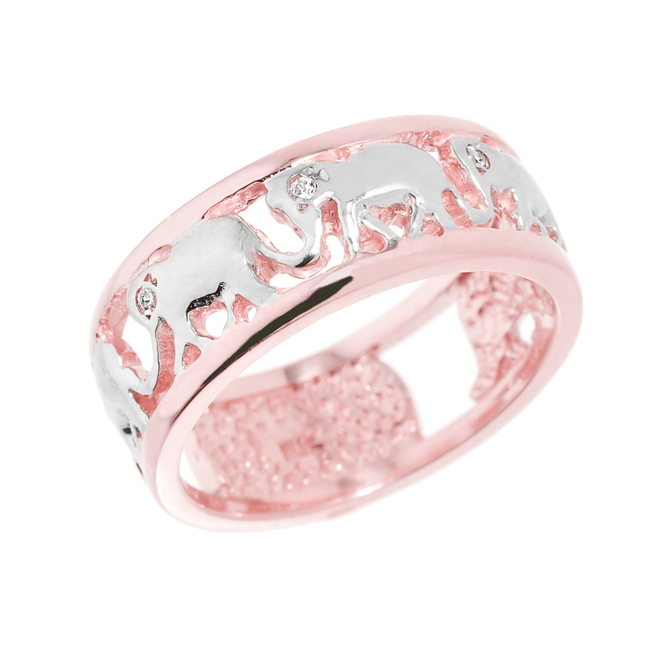 Solid Rose Gold Openwork Diamond Elephant Ring