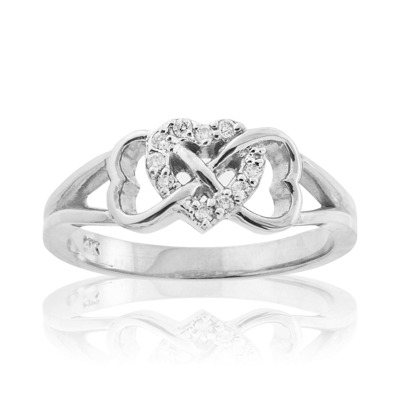 White Gold Diamond Infinity Heart Ring | Infinity Rings