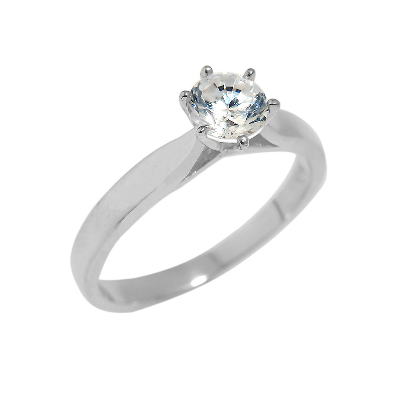 Solid White Gold Cubic Zirconia Engagement Ring Engagement Rings