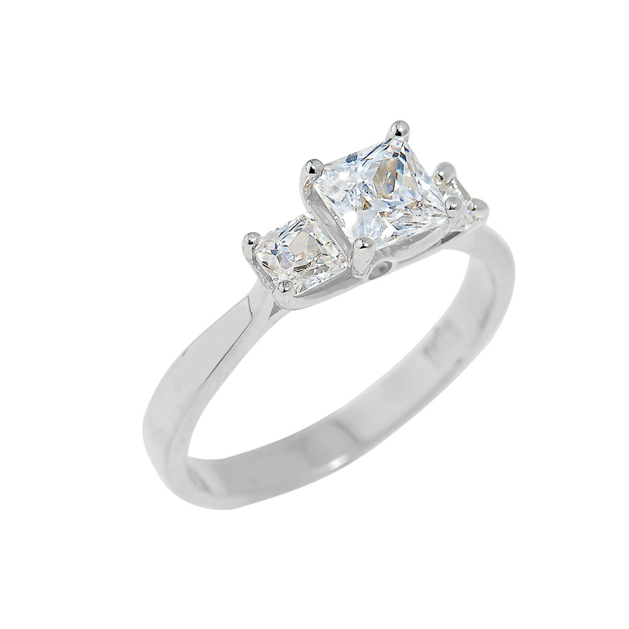White Gold Princess Cut Engagement Ring with CZ Engagement Rings