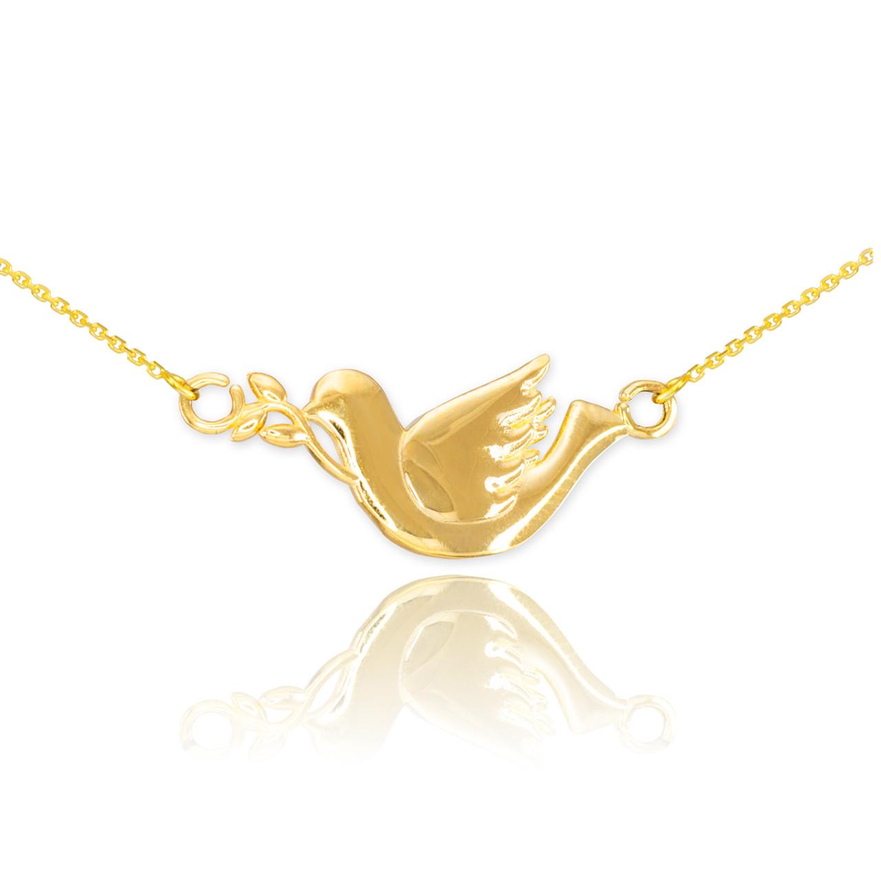14k gold dove necklace dove bird pendants bird necklaces 14k gold dove necklace aloadofball Gallery