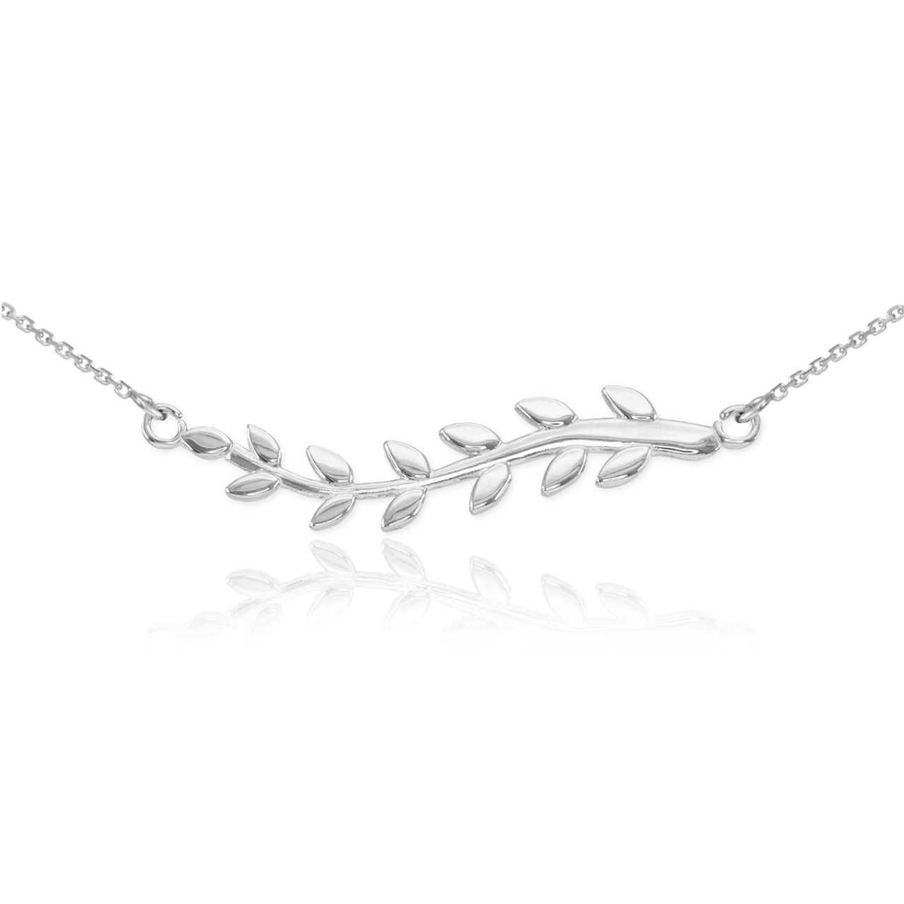 and with leaf dewdrop necklace zirconia double silver elisemoran cubic com branch on olive view orig chain pendant
