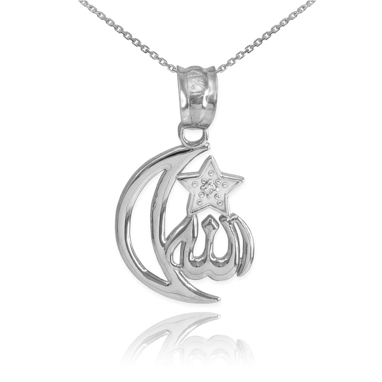 White gold diamond crescent moon allah pendant necklace aloadofball Gallery