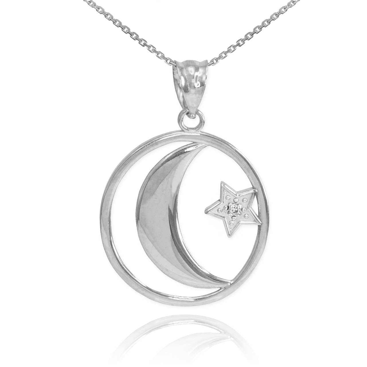 White gold crescent moon with diamond star pendant necklace white gold crescent moon with diamond star islamic pendant necklace aloadofball Choice Image
