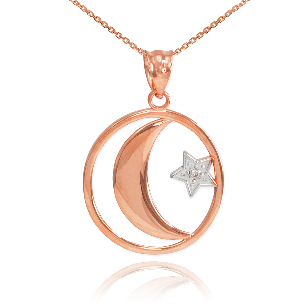Rose gold crescent moon with diamond star islamic pendant necklace aloadofball Choice Image