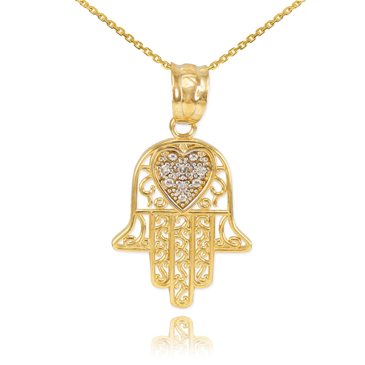 Gold Diamond Hamsa Pendant Necklace Hamsa Jewish Pendants