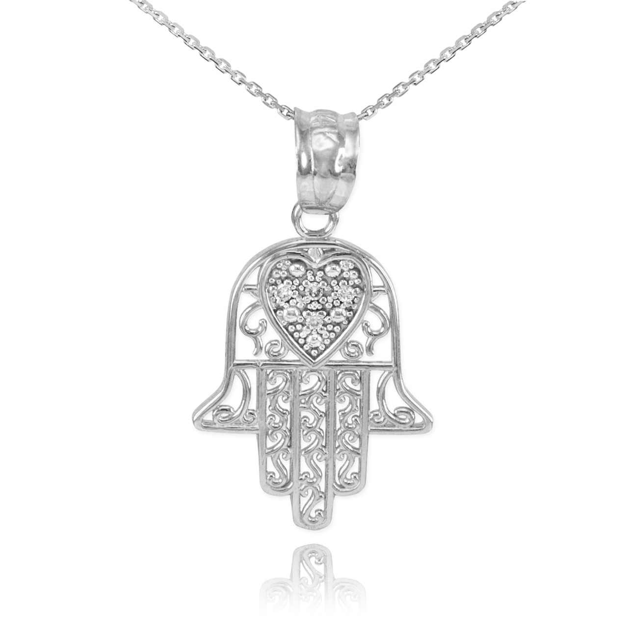 White gold diamond filigree hamsa pendant necklace hamsa jewish white gold diamond filigree hamsa pendant necklace mozeypictures Images