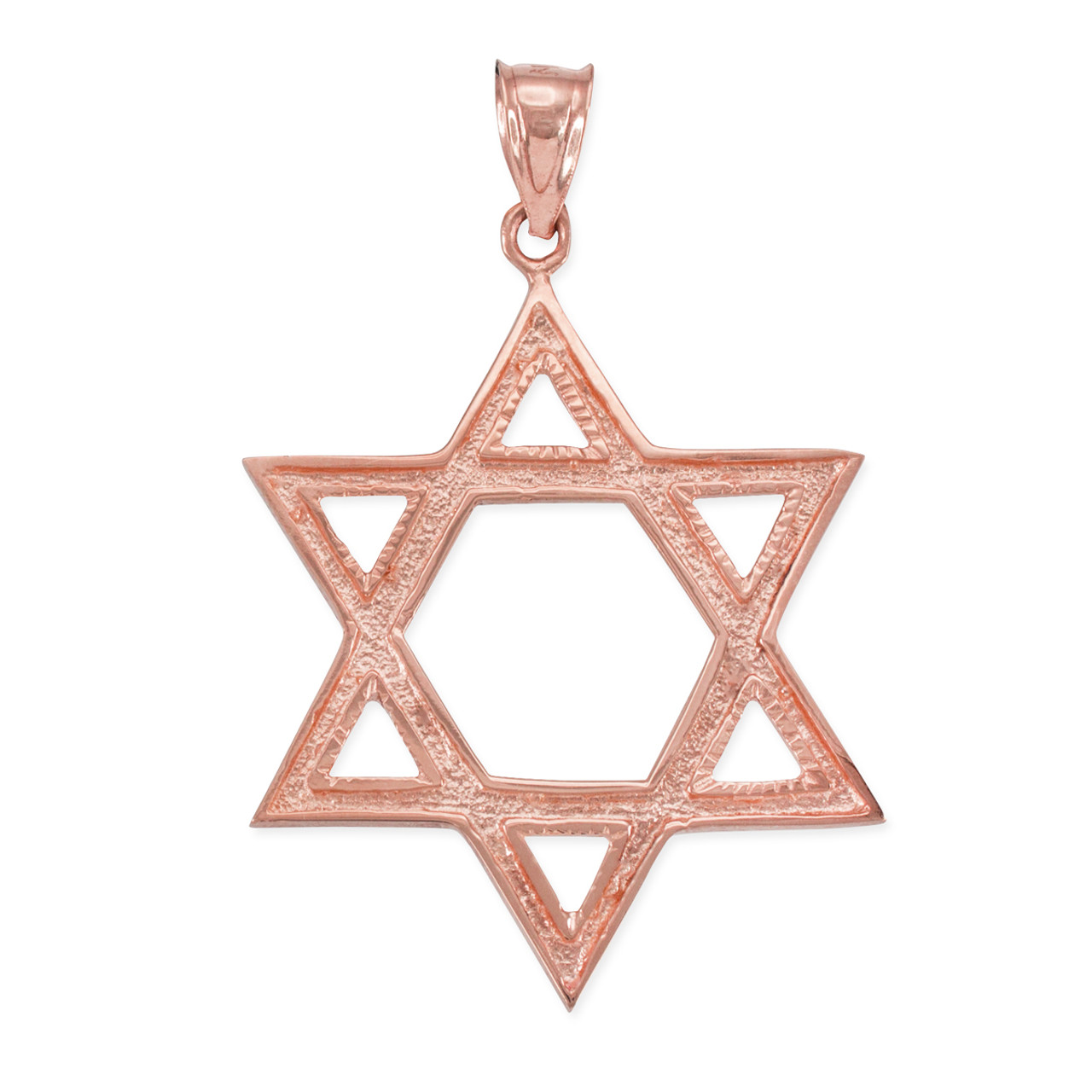 Rose gold star of david pendant 17 inches aloadofball Images