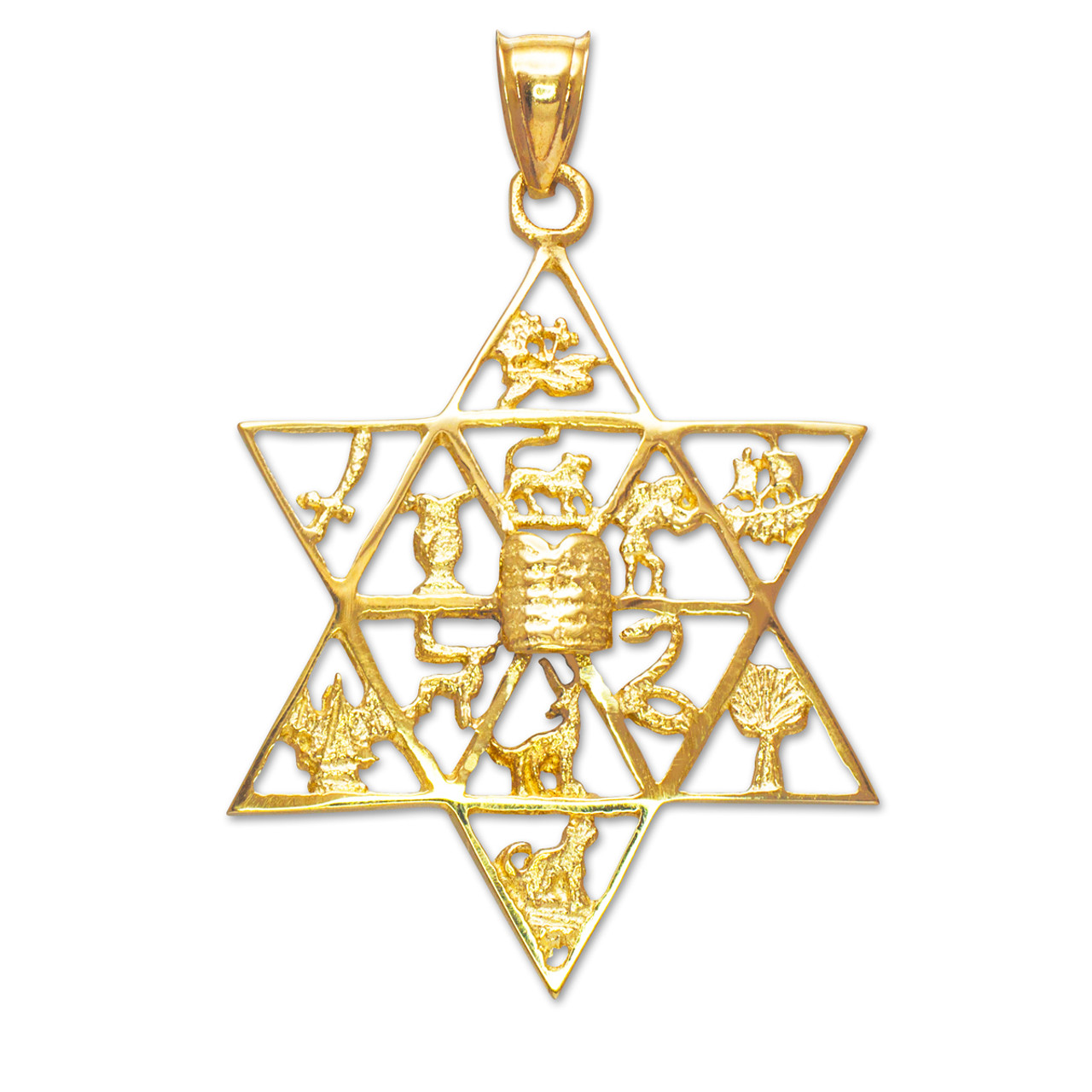 Gold star of david with twelve tribes of israel pendant aloadofball Image collections