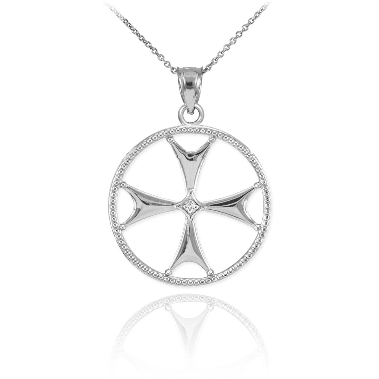 White gold diamond maltese cross pendant necklace aloadofball Images